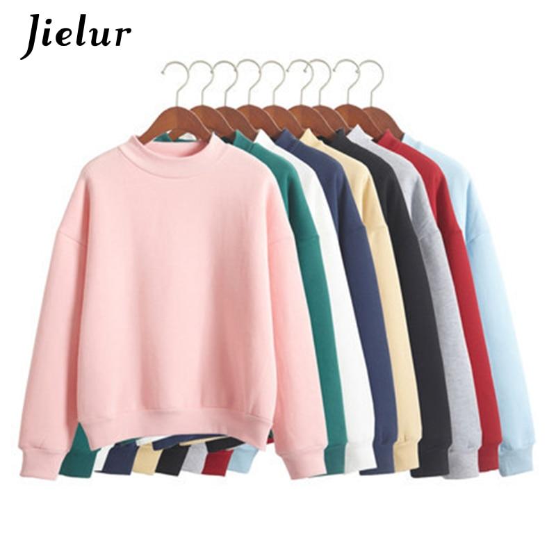 Wholesale M-XXL Cute Women Hoodies Pullover 9 colors 2020 Autumn Coat Winter Loose Fleece Thick Knit Sweatshirt Female