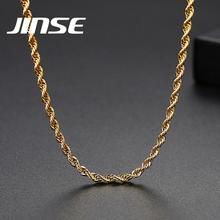 JINSE 3mm or argent couleur corde chaîne collier pour hommes femmes Hip Hop torsion longue chaîne breloque collier accessoire bijoux