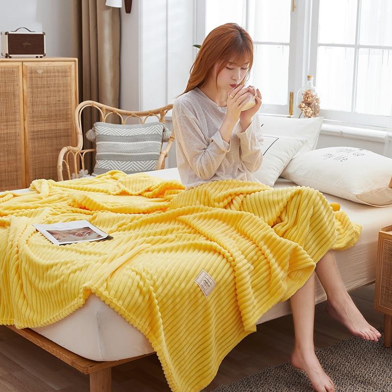 TONGDI موضة جيدة اللمس الصلبة العمودي لينة الدافئة ضوء Fannel الصوف بطانية غطاء الديكور أريكة سرير المفرش الشتاء الأريكة