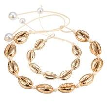 Offre spéciale à la main bohème mer coquillages Bracelets et Bracelets femmes réglable corde or Cowrie coquillage collier été plage bijoux