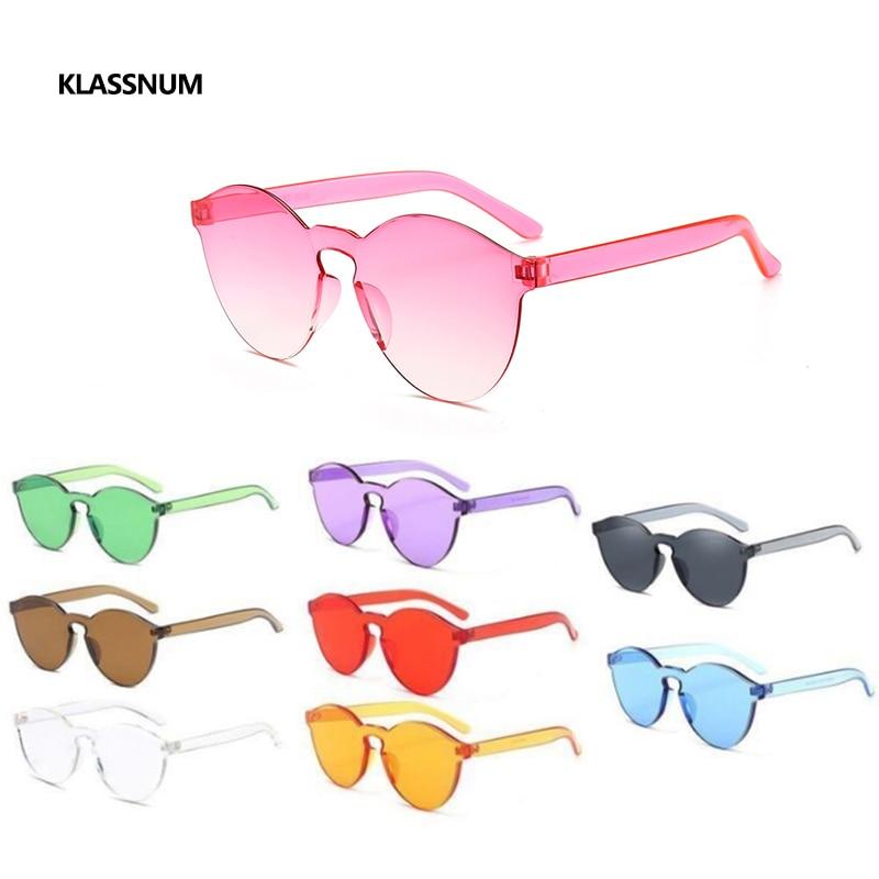 KLASSNUM Fashion Colorful Plastic Rimless Womens Girls Sunglasses Vintage Classic Pink Sunglass Grad
