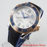 BLIGER 41mm date white dial sapphire glass movement ceramic bezel rubber strap automatic men watch