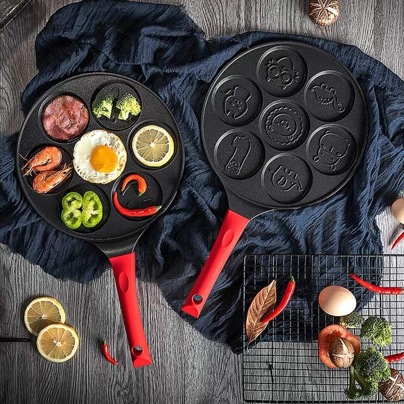 Sartén porosa de fondo plano multifuncional para sartén para el desayuno de siete agujeros sartén antiadherente para freír huevos de bebé