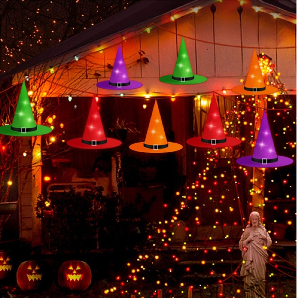Halloween LED Glowing Witch Hat Christmas Tree Hanging Ornament Party Costume Cosplay Props Indoor O