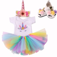 18 Inch American Doll Dress Unicorn Halloween Suit Lace Skirt+Shoes Newborn Girls Clothes Baby Toys