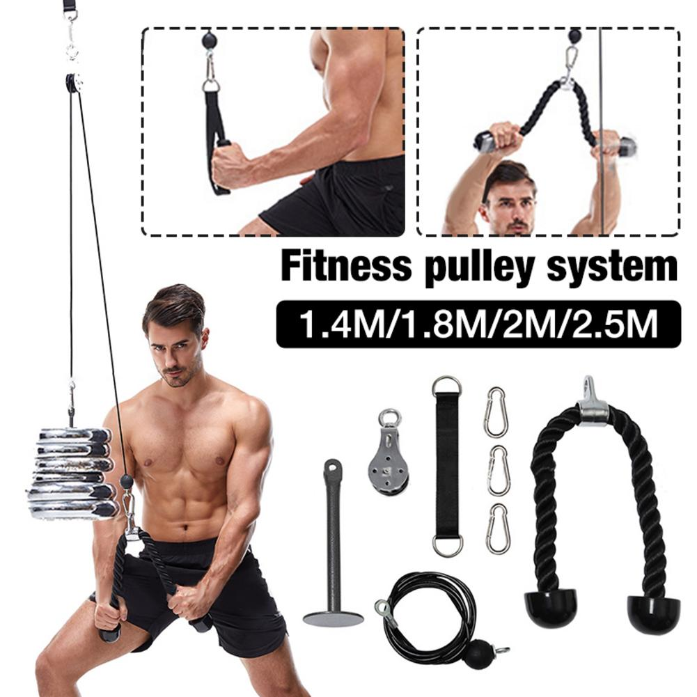 Fitness Pulley Cable Machine Attachment System Arm Biceps Triceps Blaster Hand Strength Trainning Home Gym Sport Accessories