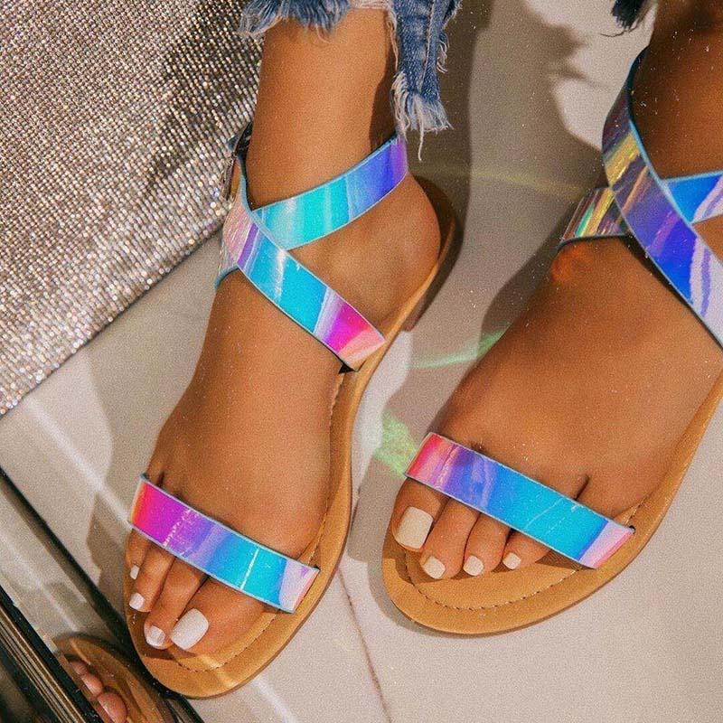 Big Size Female Shoes Summer MultiColor Platform Flat Sandals Women Rainbow Sandals Women's Fashion