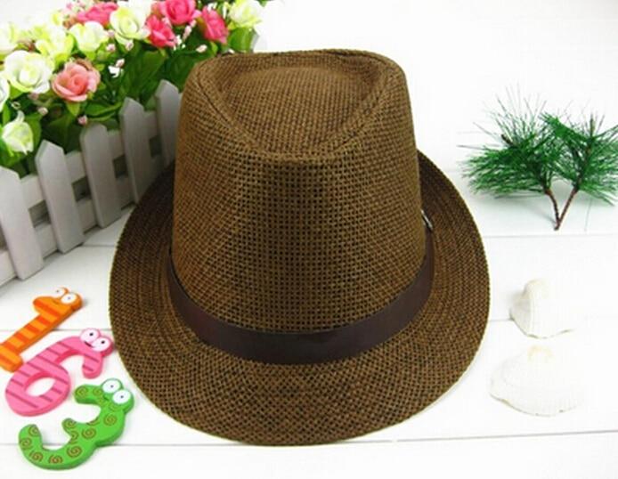 Top Quality 1Pc Fashion Womens Mens Unisex Fedora Trilby Gangster Cap Summer Beach Sun Flax Jazz Hat