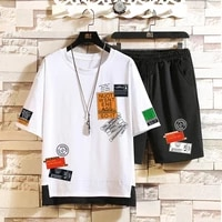 short sleeved t shirt men summer 2020 mens sets casual shirt shorts printed sports suit two pieces male tracksuit clothing