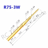 100pcs r75 3w spring test probe receptacles brass flat head pin for pcb testing spring test pogo pins dia 1 32mm without spring