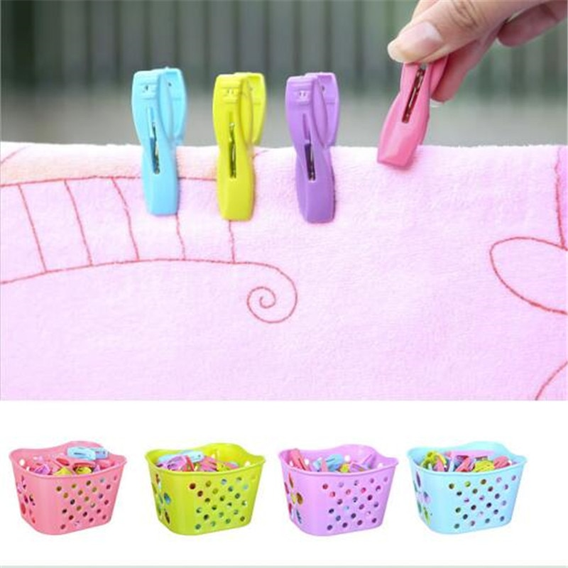30PCS Plastic Laundry Clothespins Decorative Clothes Pegs Clothespin Storage Organizer Towel Washing Clips Large With Basket 16x2 4cm 4 packs large clothespin spring clip color plastic clothes quilt household daily use