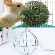 Distributeur de nourriture de sphère ronde dacier inoxydable jouets suspendus de boule danimal de compagnie de Hamster de lapin
