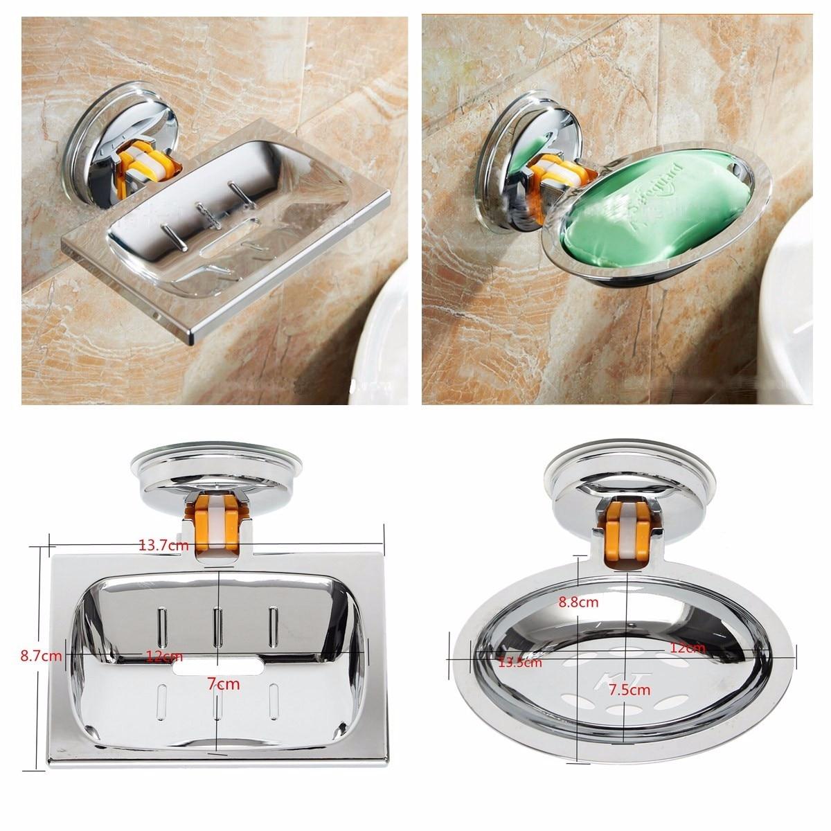 Decorar Hogar, forma cuadrada y redonda de acero inoxidable Chapado en baño clásico jabonera para ducha y lavabo titular de la copa de succión