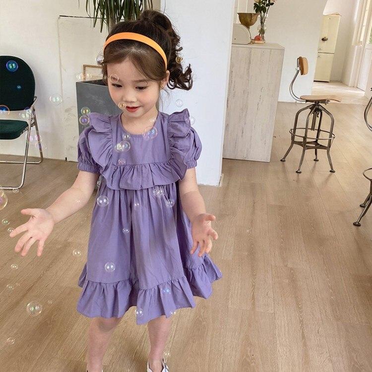 Vestido para niñas NOVEDAD DE VERANO 2020, vestidos para niñas, fantasía púrpura, Princesa, niña, volantes, vestido de algodón para niñas