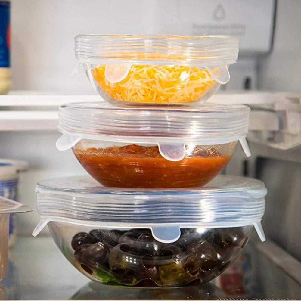 Tapas elásticas de silicona reutilizables para alimentos, envoltura hermética con 6 Uds., herramientas de cocina para mantener los alimentos recién sellados
