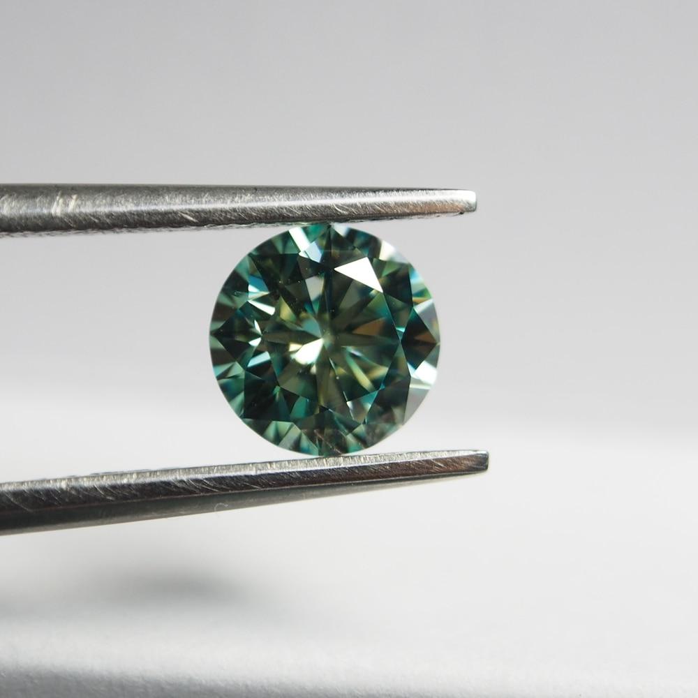 Lab diamond 2piece VVS 1ct 6.5mm Light Green Loose Moissanite diamod stone earring engagement ring