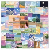 60pcs waterproof graffiti decals oil painting landscape stickers aesthetic for laptop phone fridge classic toy sticker packs