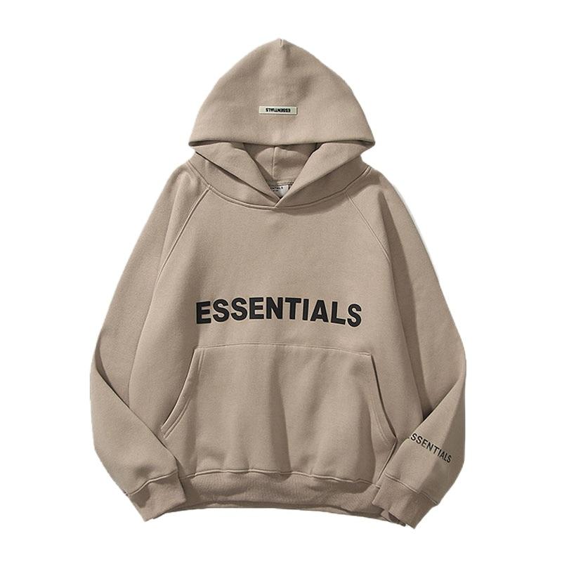 New Men's Essentials Hoodies Sweatshirts Reflective Letters Printing Fleece Oversized Hoodie Fashion Hip Hop Sweatshirt Couples