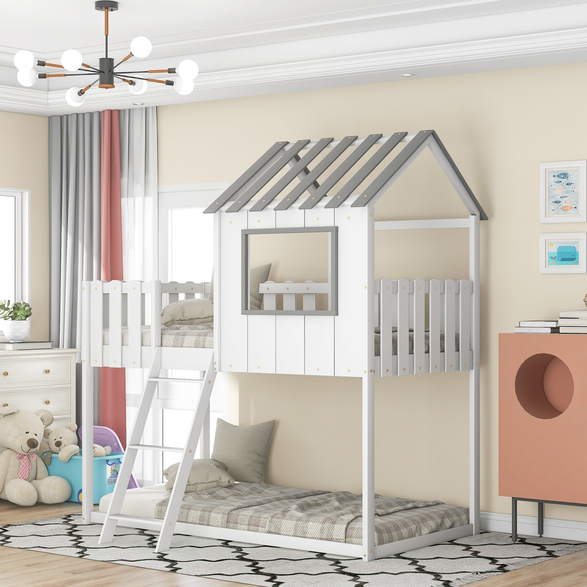 """Bunk House Bed Frame Twin Size with Rustic Fence-Shaped Guardrail Pine 37""""x75""""x78"""" White/Gray[US-Stock]"""