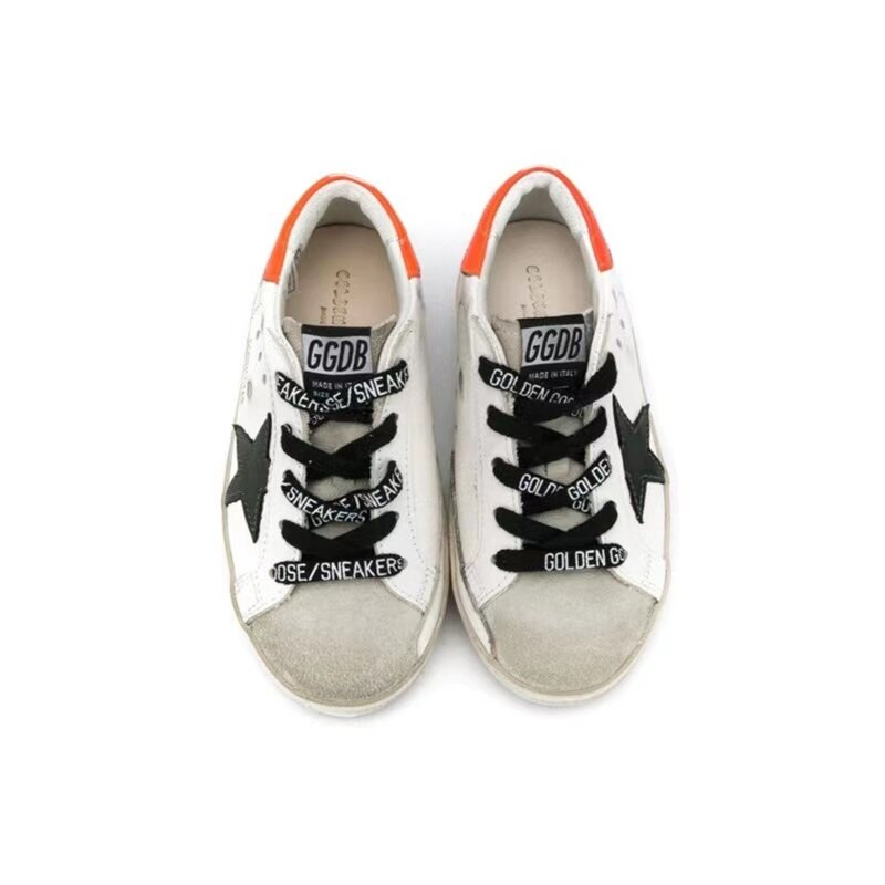 Children's Spring and Summer New First Layer Cowhide Old Small Dirty Shoes for Boys and Girls Casual Orange Tail Kid Shoes CS137 enlarge