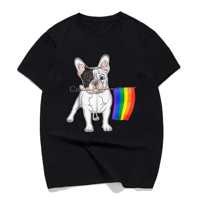 Camiseta de moda para hombres Gay lesbianas Lgbt orgullo bandera Bulldog francés perros amantes familia divertida