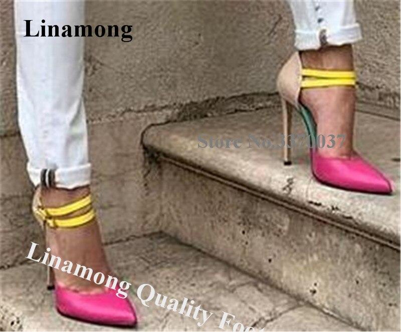 Lininter-حذاء رسمي بكعب عالٍ بأبازيم للكاحل ، صندل أنيق بكعب عالٍ ، مرقع ، ألوان مختلفة