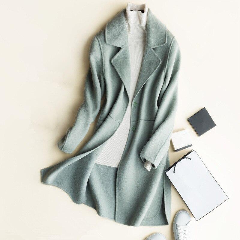 2020 de alta qualidade outono inverno duplo-face cashmere casaco feminino jaqueta longa fino lã terno gola sólida cardigan outwear feminino
