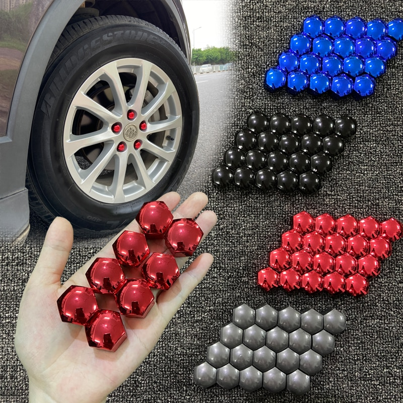 17mm 20Pcs Car Wheel Nut Caps Protector Cover Anti-Rust Auto Hub Screw Cover Car Tyre Nut Bolt Styling Car Exterior Accessories