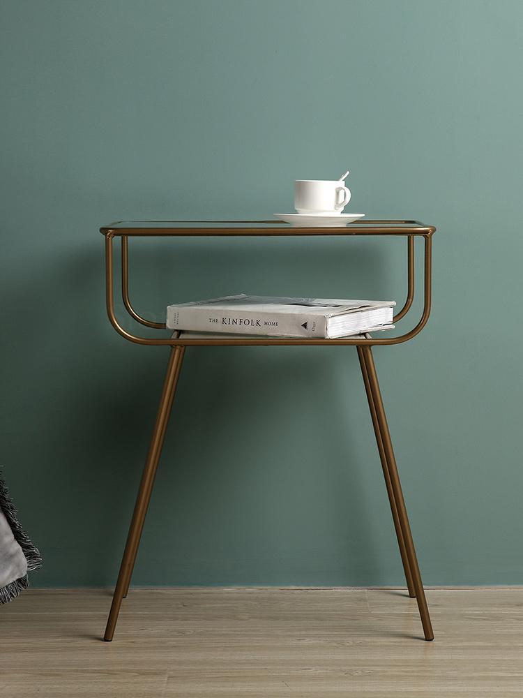 Mesa de noche postmoderna, mesa de centro nórdica de hierro, armario de mesita de noche, dormitorio creativo, montaje de gabinete Rectangular Simple