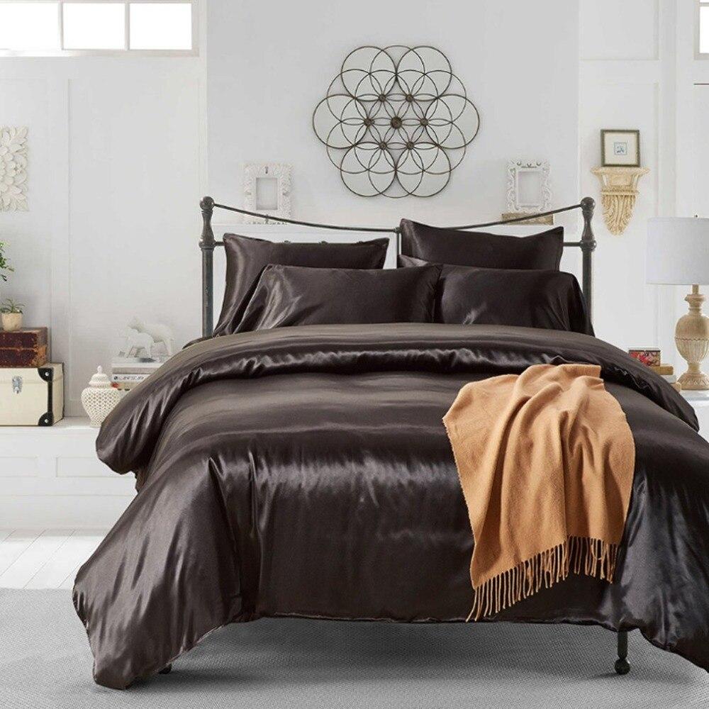 3 pçs conjunto de cama moda sólida lavável macio seda capa edredão fronha suprimentos para casa hotel rainha/rei/twin tamanho