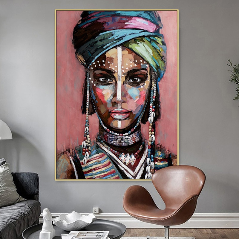 Abstract African woman wall art posters and prints black girl portrait picture Home decoration Canvas oil painting