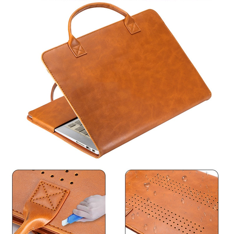 Laptop Case for MacBook Pro Air 15.4 13.3 13 12 11 Laptop Bag PU Leather Sleeve Detachable Notebook Cover Bag