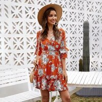 backless sexy v neck floral print dress mid sleeved women clothes causal summer beach mini dresses short sleeve bandage sundress