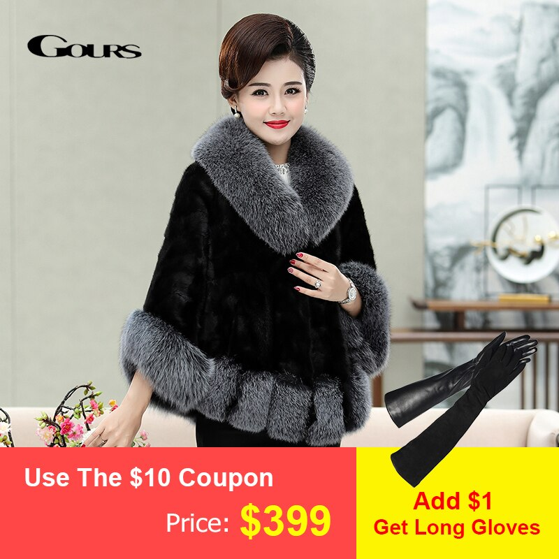 GOURS معطف شتوي للنساء, مصنوع من الجلد الطبيعي معطف فرو المنك مع ياقة من فرو الثعلب ، موديل PG5829
