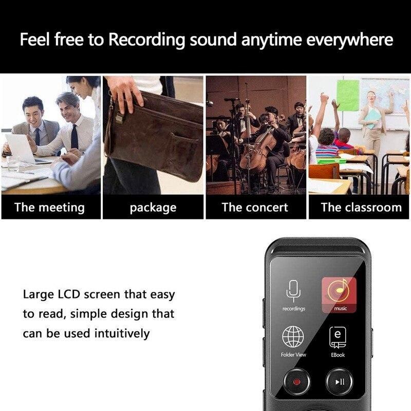 Vocale Digitale 8 GB  di Memoria USB 1536kbps Design a Specchio Pieno Registratore HD con Lettore MP3 enlarge