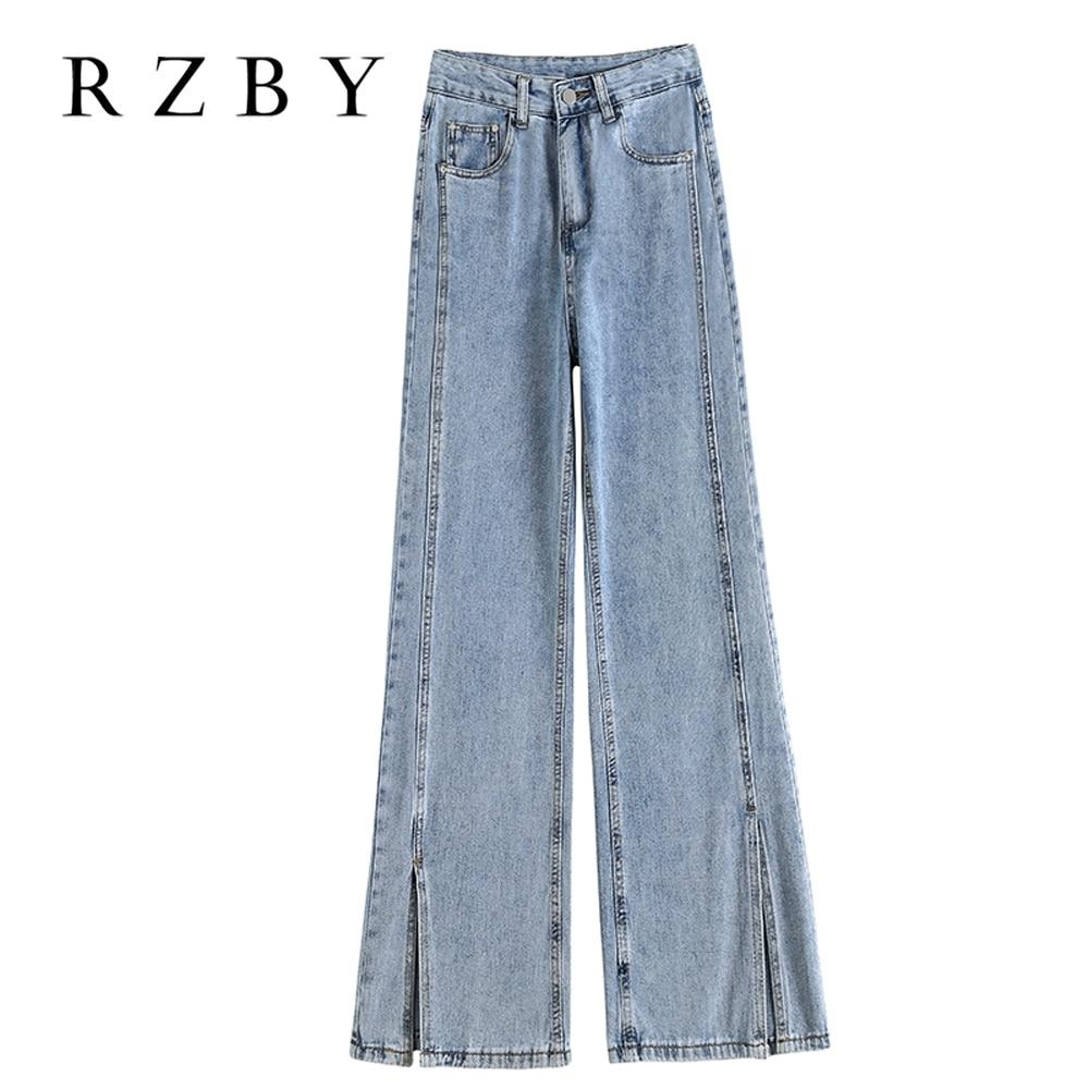وصل حديثًا بنطلونات نسائية بتصميم ربيعي من موديلات عام 2021 بنطال جينز مستقيم وواسع وخصر مرتفع بتصميم مجزأ سروال تنظيف RZBY387