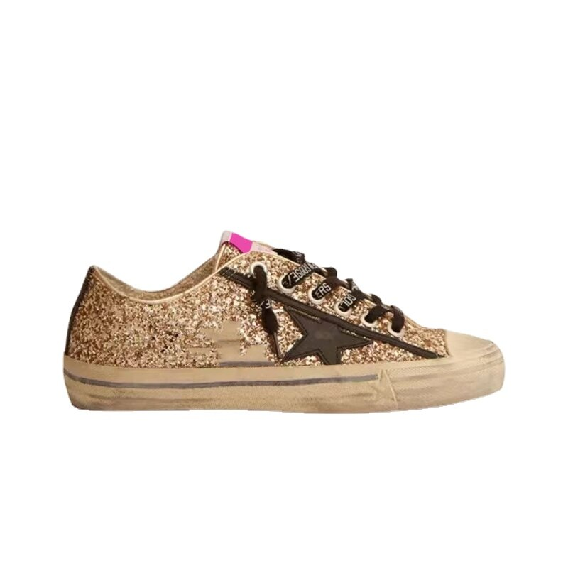 2021 Autumn New Children's Casual Shoes Gold Sequins Retro Old Breathable Fashion Non-slip Sports Parent-child Sneakers  QZ149 enlarge