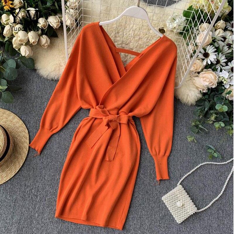 YuooMuoo الخريف الشتاء المرأة محبوك سترة فستان 2021 جديد الكورية طويلة باتوينغ كم الخامس الرقبة فستان أنيق السيدات ضمادة فستان
