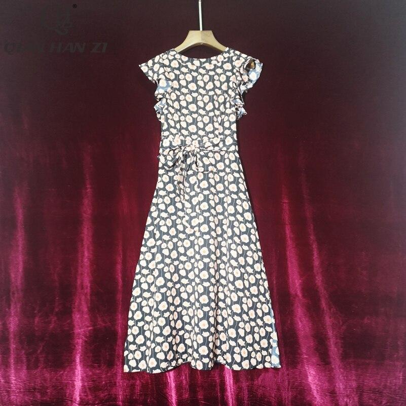 Qian Han Zi designer fashion runway 2020 summer dress womens ruffled sleeves vintage Floral Print Slim High Split Dress