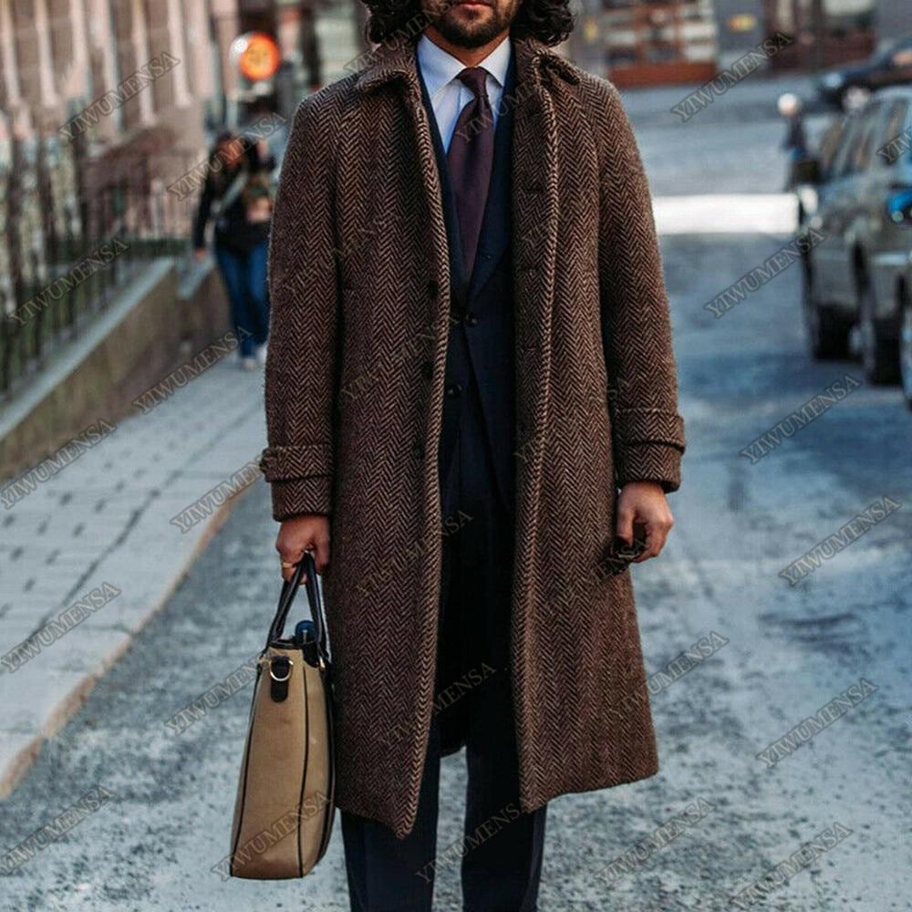 الخريف/الشتاء البني متعرجة دعوى جاكيتات رجالي تويد سميكة أبلى معطف صالح سليم الصوف يمزج التدخين سترة 1 قطعة معطف