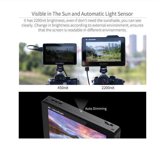 Feel world LUT7 PRO شاشة 7 بوصة 2200nits 3DLUT تعمل باللمس كاميرا DSLR مخرج حقل شاشة التيار المتناوب مع مجموعة تثبيت الطاقة الخارجية F970