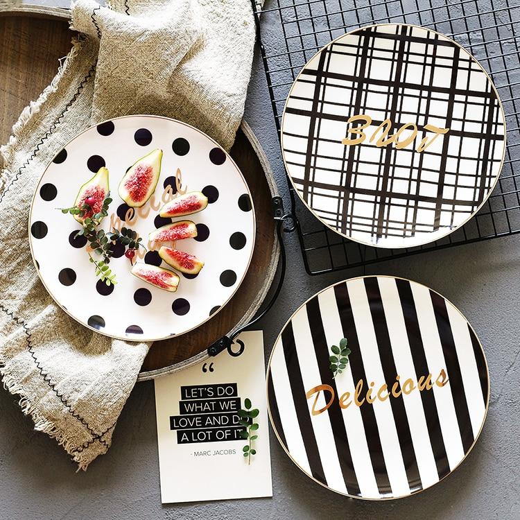 Dinner Plate Black White Breakfast Dessert Plate Fruit Plate 8 Inch Flat Jewelry Storage Tray Striped Geometric Figure Love Gift
