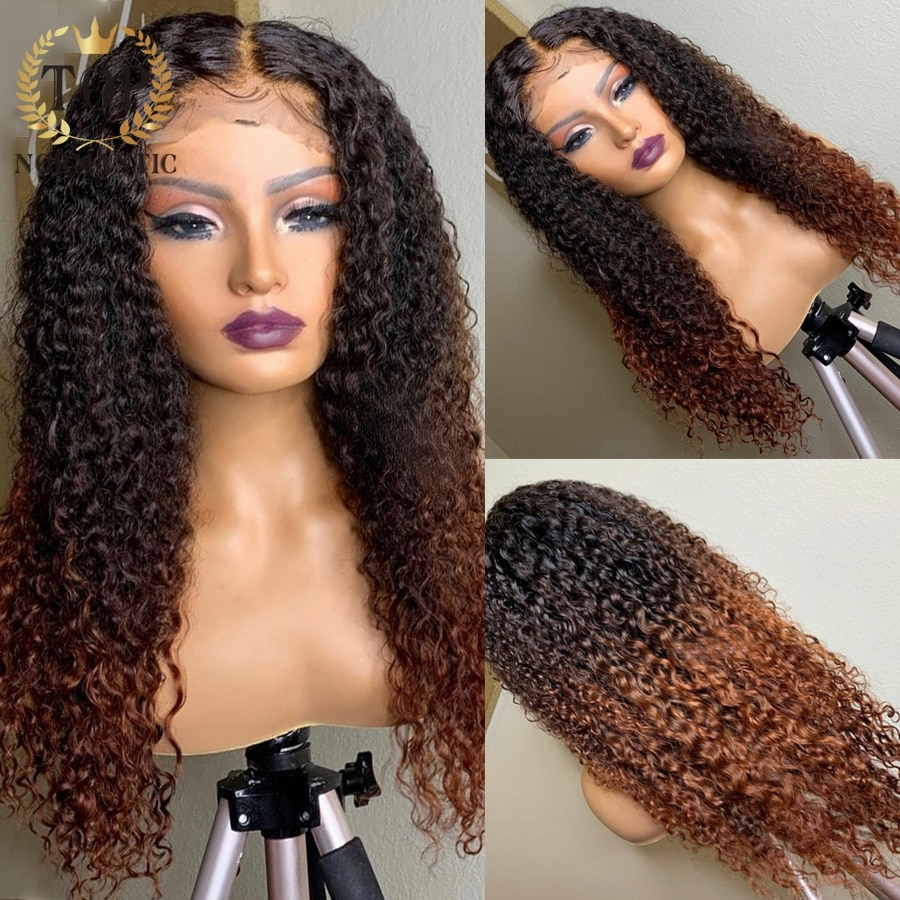 Topnormantic Ombre Brown Color Remy Human Hair 13x4 Lace Front Wig For Women 4x4 Closure Deep Curly