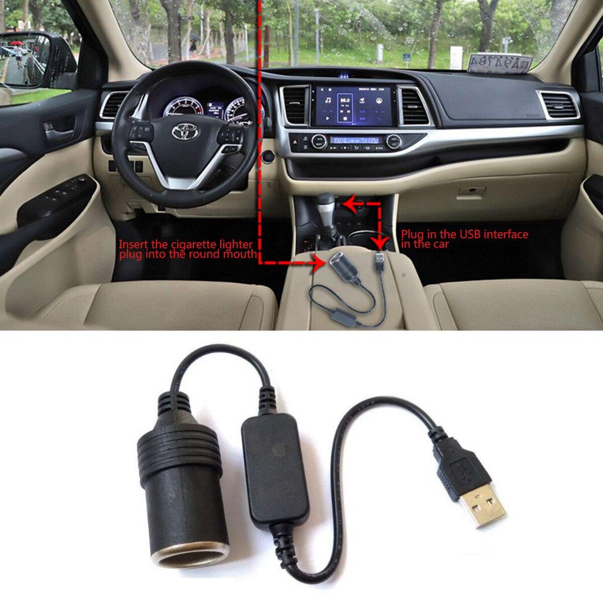 USB Port 5V To 12V Car Cigarette Lighter Socket Female Converter Adapter Cord