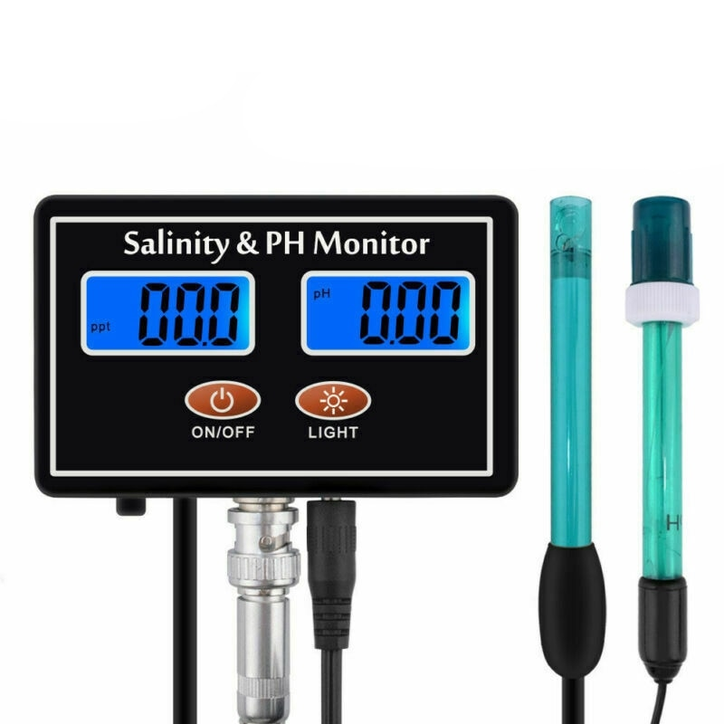Monitor de Qualidade de Água Salinidade em Tempo Monitor para Aquário do Tanque de Peixes do Mar Salinidade Salgada Tester Real ph Lcd