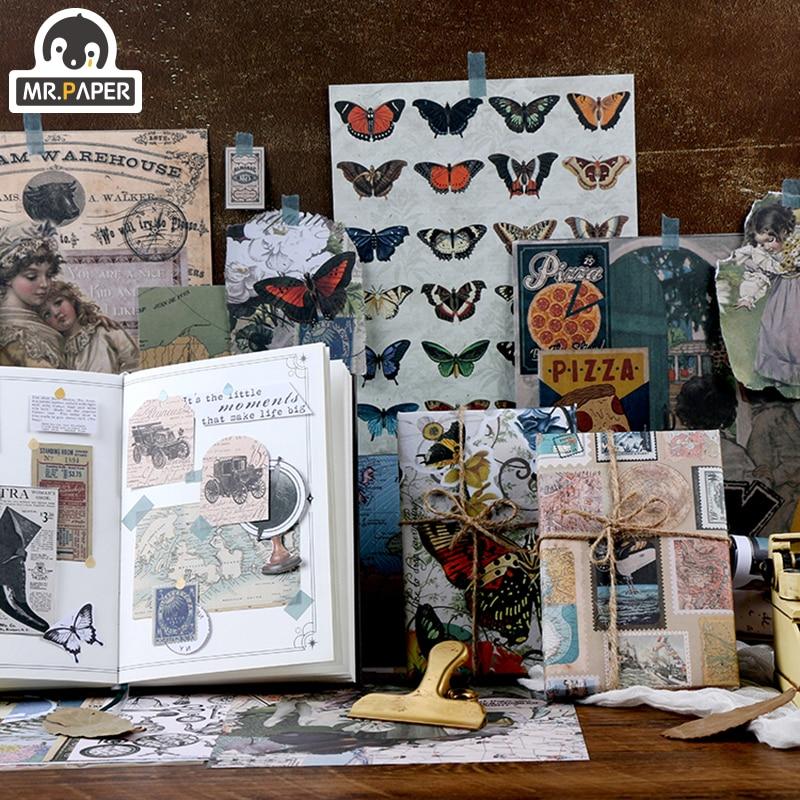 Mr.paper 15pcs/each Illustrated Book Vintage Gilding Journaling Bullet DIY Scrapbooking Butter Material Paper Retro LOMO Card