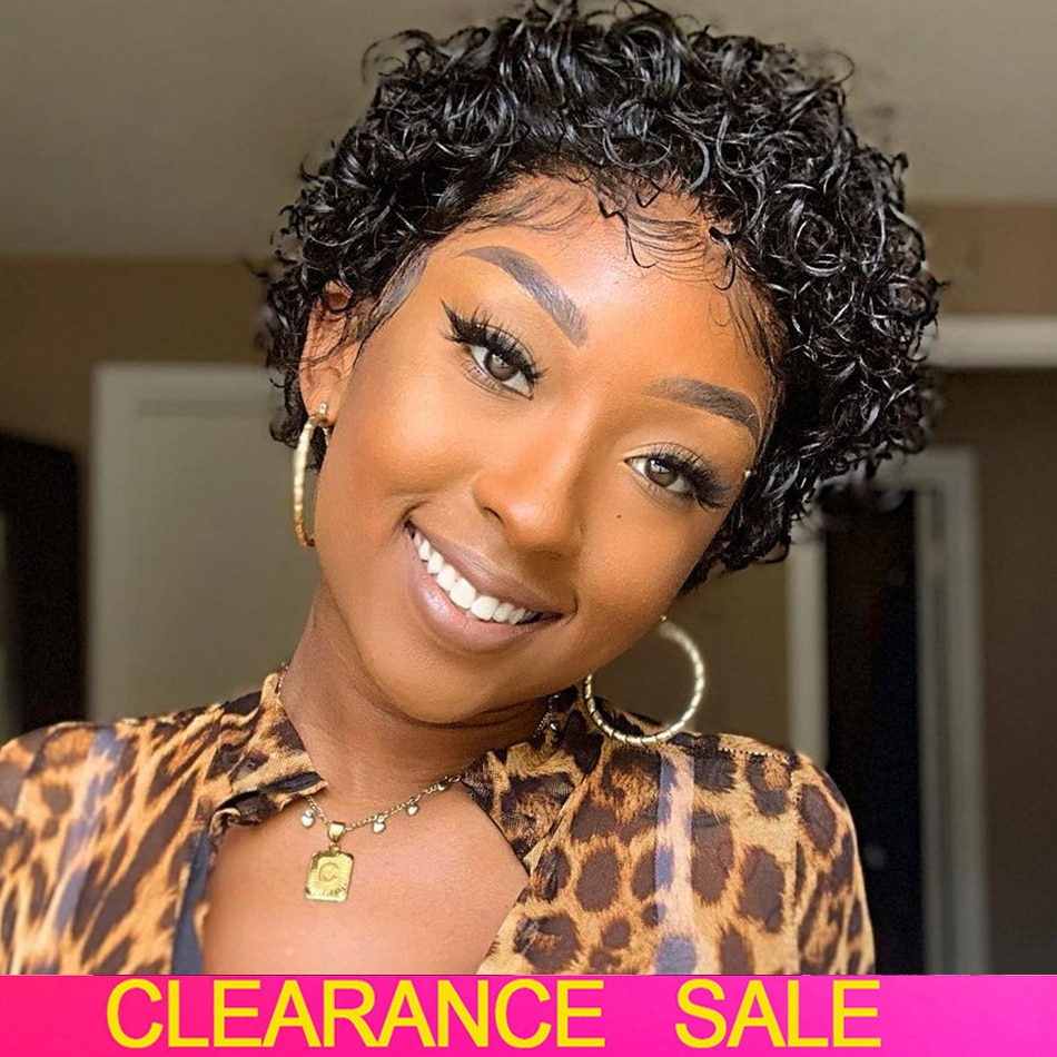 Short Pixie Cut Wig Cheap Bob Curly Human Hair Wig Brazilian Hair Wigs for Women Pre Plucked with Ba