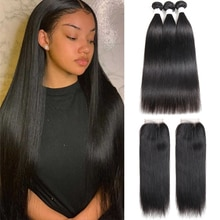 Straight Hair Bundles With Closure Brazilian Hair 3 Bundles With Closure 100% Human Hair Bundles With Closure Remy