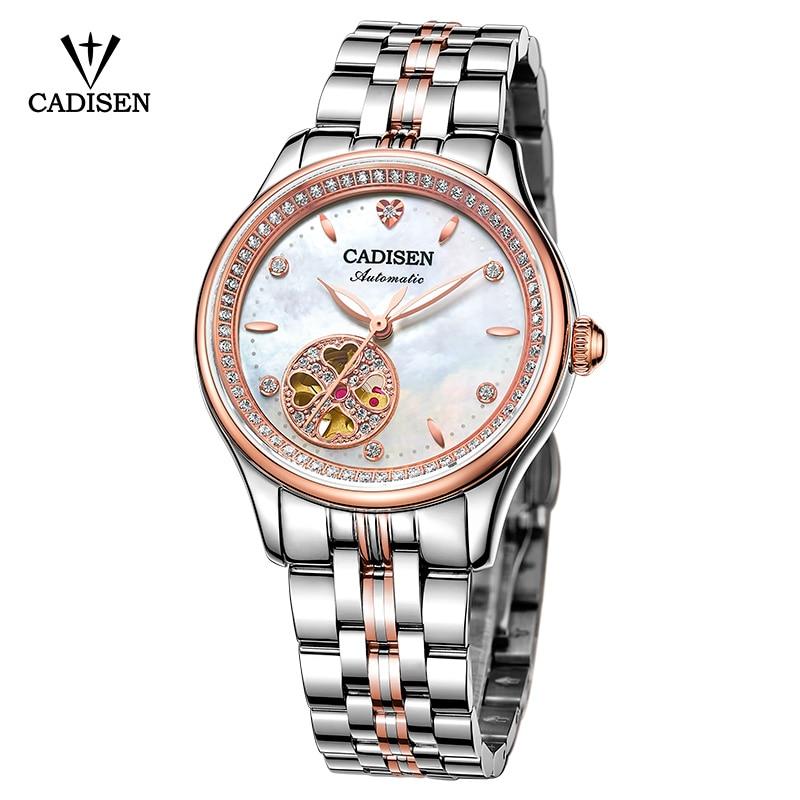 Women Watch CADISEN Skeleton Automatic Ladies Leisure Dress Stainless steel Fashion Brand Luxury Waterproof Wristwatch relogio
