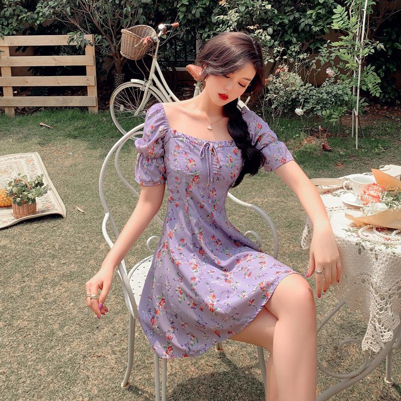 2020 summer women's fashion plus size purple chiffon niche floral printed dress girl's vintage plus size flower printing dress 4000962145617 фото